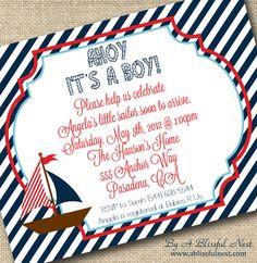 Ahoy Its A Boy Baby Shower InvitationNAUTICAL by ABlissfulNestShop