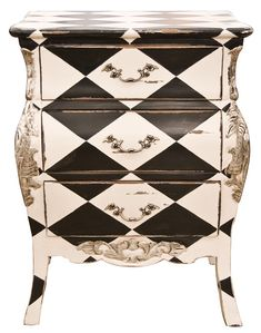 ❥ Painted furniture : Harlequin Bedside table. Great transformation. It has a quirky feel to it. Maybe because the harlequin is horizontal instead of vertical