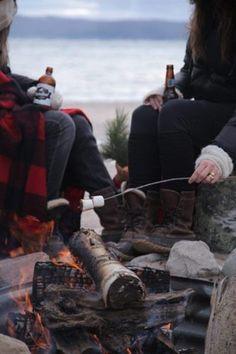 beach, log fires, beers