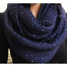 Dark Blue Mohair Sequins Trim Cable Knit Infinity Scarf - Scarves - Accessories - Women's Style Free Shipping
