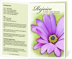 "Church Bulletin Templates : Flower Church Bulletin Template with bible verse ""Rejoice in the Lord always. Philippians 4:4"""