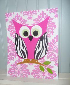 OWL Art Print  Zebra Damask Chevron Modern Wall by IAdoreDecor, $15.00
