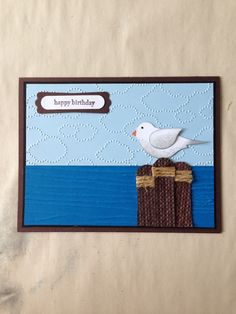 handmade card ... Bird Builder Punch   seaside scene ... punch art ... two step bird dressed as a seagull on wooden posts ... great card!! ... Stampin' Up!