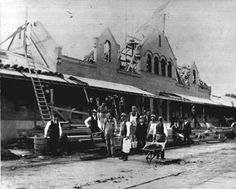 PHOTO COURTESY OF THE GEORGE S. BOLSTER COLLECTION OF THE HISTORICAL SOCIETY OF SARATOA SPRINGS--WORKERS REBUILD THE SARATOGA SPRINGS TRAIN STATION IN 1900, AFTER FIRE DESTROYED THE STRUCTURE. FOR MILLENIUM PROJECT. Photo: HAND OUT / GEORGE S. BOLSTER COLLECTION