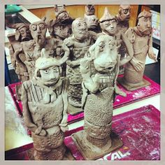 China's Terracotta Warriors, made by 6th Graders in teams of two. They make 1/2 at a time. Lesson is courtesy of Triarco. http://www.triarcoarts.com/lesson-plans/terra-cotta-triarco.pdf