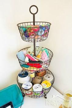 Craft Room Organization: Get organized with things that are both cute and functional! This 3-tier metal wire basket is perfect for small craft supplies!