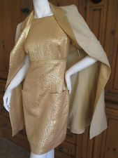 Chanel Dreamy Gold Silk Lurex Dress with Matching Coat from Fall 1996 sz 44