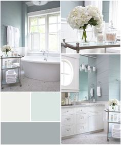 SW 7006 Extra White BM 715 In Your Eyes SW 6234 Uncertain Gray - love the soft blue and white bathroom colors