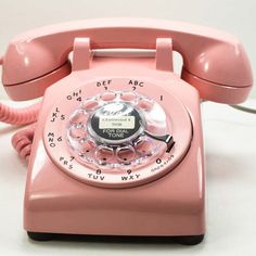 1958 500 Rotary Dial Desk Phone pink, american telephone store, home telephone