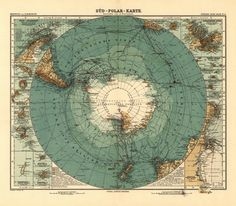 Historical nautical chart of Antarctica from 1912.