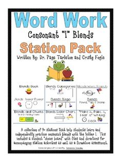 A collection of 9 stations that help students practice consonant l blends. $3.00 - On sale through 5-8 for 28% off!  Use code TAD12.   # Pinterest++ for iPad #