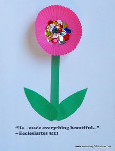 Cupcake Liner Flowers - Awana Cubbies Bear Hug #3 Craft - Meaningfulmama.com