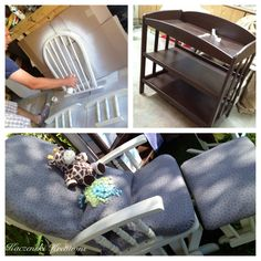 Repurposed Rocking chair & diaper changing table.   K.Kreations-Homemade,Repurposed and refinished items.Creations available to rent for weddings & events.From lighting to drapery to homemade dance floors.Other items not event related(home design/re-modeling,projects) can be done/made to order.Upcoming website in the works.