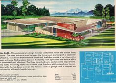 Mid-century modern single-story ranch home illustration and floor plan