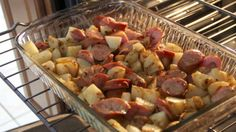 Roasted Kielbasa & Potatoes. Onion soup mix. Going to try this tonight. Might toss in some fresh onions too.