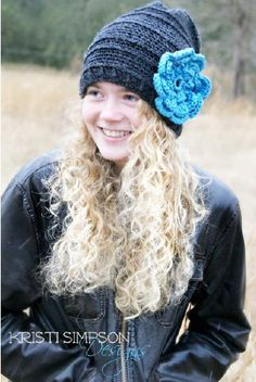 RAKJPatterns Crochet Patterns Free and to Purchase: Free Crochet Pattern: Slouch Hat With Flower