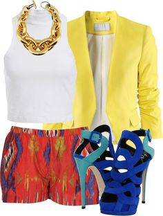 Yellow Blazer, White Tee, Red (Yellow and Blue) Patterned Bottoms, Blue Heels.  Gold Chain Link Necklace.