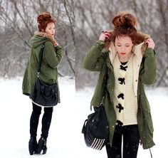 Green Parka (by Wioletta Mary Kate) http://lookbook.nu/look/4601369-Green-Parka sweater, fashion, winter, cloth, style, wioletta mari, green parka, outfit, parkas