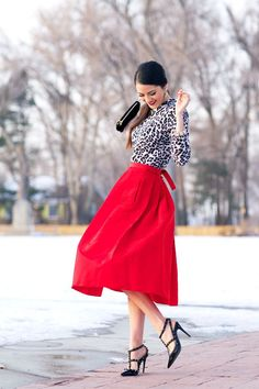 Contrast an animal print top with a bold solid colored skirt for a trendy winter look! :: Fashion:: Animal Prints:: Vintage Inspired Fashion