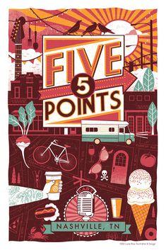 Nashville Neighborhood Poster Series- 3, FIVE POINTS.
