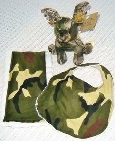 Baby boy camo set with matching bib, burp cloth and Ducks Unlimited camo deer  $15.00