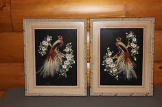 Set of 2 Bird of Paradise Glenn F. Bastian Feather Art Print Framed Pictures old