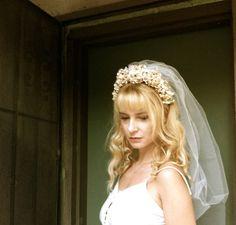 wedding flower headband with veil tiara crown by MomoRadRose, $45.00