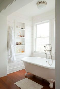 Simple Bathroom-Clawfoot Tub -- I would love this as long as there is also a shower around the corner.