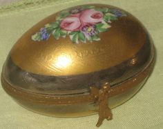 Vintage Limoges Peint Main Porcelain Egg Trinket Jewery Box