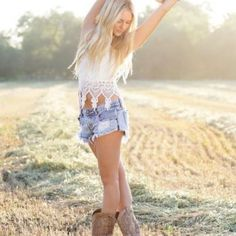 Shorts and Cowboy boots, good look for the Kenny Chesney concert in 2 wks!!