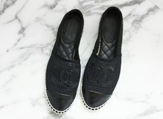#Chanel espadrilles. espadrilles, black perf, chanel espadrill, espadrill chanel