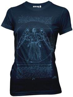 Doctor Who Vitruvian Weeping Angel Juniors T-shirt $21.99 (save $8.00) + Free Shipping