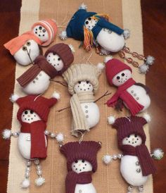 """""""Creative Snowmen"""" - Fabric or Old Clothing Homemade Christmas Ornaments"""