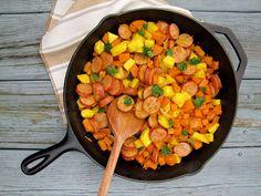 dinner, skillet bake, sweetpotato kielbasa, spice sweetpotato, sweet potato