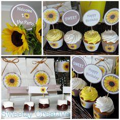 sunflower party, sunflow parti, sunflowers, bridal shower, parti collect, sunflow collect, parti idea, favor bag, babi shower