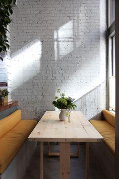 White brick wall, love!