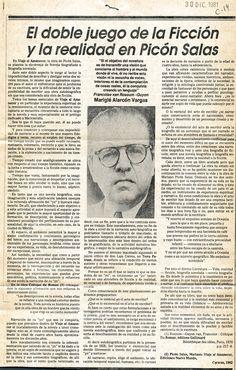 El doble juego de la ficción y la realidad en  Picón Salas.  Publicado el 30 de diciembre de 1981.
