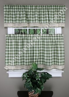 Buffalo Check decorative window treatment by Achim, is a popular medium scaled check, with a crochet border trim.  #Cafe #Tiers #Curtains