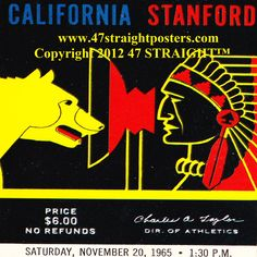 The Big Game 1965! #Cal #Stanford Best Cyber Monday Deals 2013! $29.99 for a set of four ceramic coasters made from 2,400 historic sports tickets! #stockingstuffers #CyberMonday #CyberMondayDeals #CyberMondaygifts #Christmas #collegefootball #football #sports #gifts #giftideas #47straight