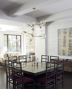 Lindsey adelman 9 globe branching bubble light also love the tile top table with red seats - Lindsey adelman chandelier knock off ...