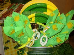 JD napkins/tableware wrapped up in a bucket