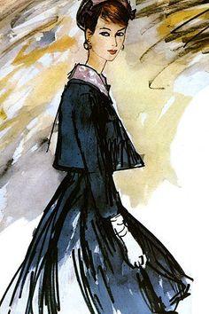 Fashion illustration by Eric, 1960.