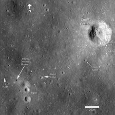 "Apollo 14 at Fra Mauro. Alan Shepard & Edgar Mitchell were meant to walk from their lunar module to the rim of an impact feature called Cone Crater, but it took them longer than expected. Unsure of their bearings, they took samples at a broken boulder nicknamed Saddle Rock before turning back. From the LRO pictures we can see they were only about 100 feet away from the rim of Cone Crater. (Credit: LRO, NASA) Ian Ridpath, ""Exploring the Apollo Landing Sites"", http://www.bellaonline.com/articles"
