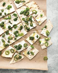Padron Peppers Scattered on Lavash with Cheese Recipe