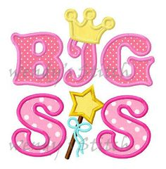 Big sis princess crown applique machine embroidery by WendysStitch, $1.99