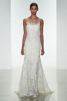 Amsale 'Elise' Corded lace fit to flare gown with illusion neckline and lace applique. www.cloudninepeoria.com