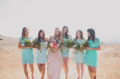 mint bridesmaids in mixed dresses