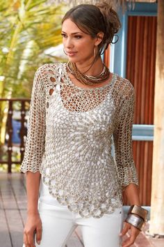 Gorgeous Free crochet pattern for ladies top - saw this on one of the girls in the office and it's FAB!! http://www.craft-craft.net/crochet-lace-beauty-dress-girl.html