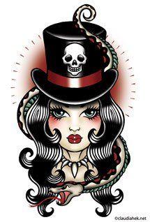 Voodoo Lady Skull Snake Tattoo