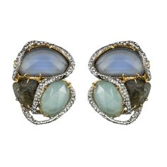Siyabona Gold Cerulean Button Clip Earring :: Earrings :: Jewelry By Category :: Alexis Bittar